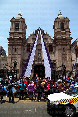 Crowds outside Las Nazarenas church during Señor de los Milagros festival, Lima, Peru