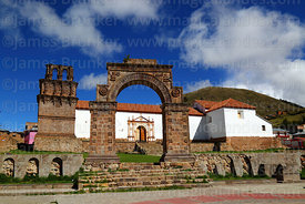 Entrance archway and Nuestra Señora de la Asunción church, Juli, Puno Region, Peru