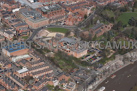 Chester view of the Roman Amphitheatre and The Church of St John the Baptist Grosvenor Park