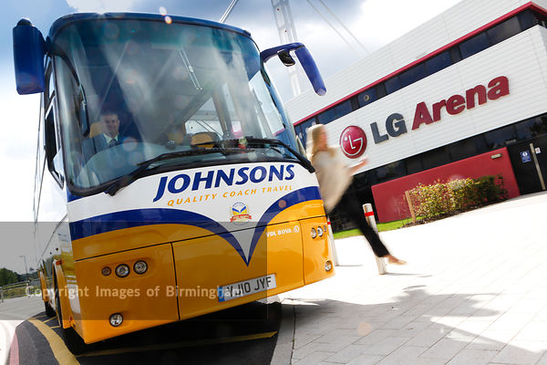 Coach outside of the LG Arena, Birmingham