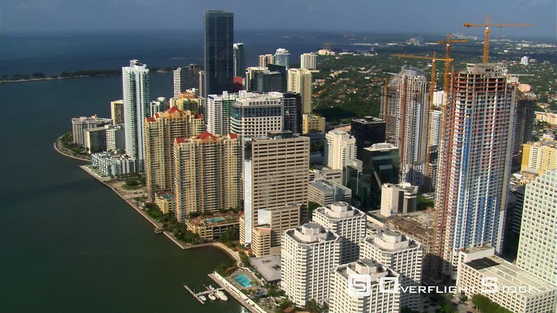 Flight over Miami from Burlingame Island to Rickenbacker Causeway .