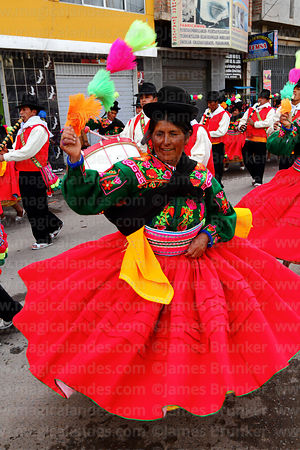 Female chacareros dancers from Acora village at Virgen de la Candelaria festival, Puno, Peru