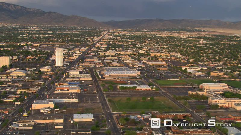 Flying over precinCTs of Albuquerque toward Sandia Mountains.