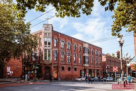 Street view, Pioneer square district, Seattle, USA