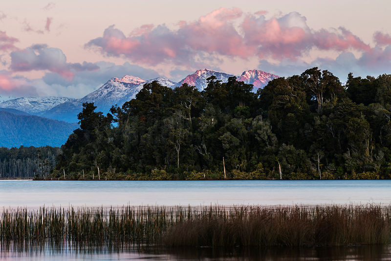 Sunset over Lake Mahinapua near Hokitika, West Coast, South Westland, New Zealand