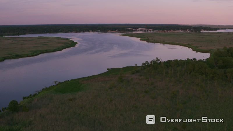 New Jersey Aerial view of Mullica River in New Jersey.  Shot with Cineflex and RED EpicW Helium.