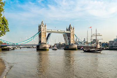 Tower Bridge Open For A Tall Ship