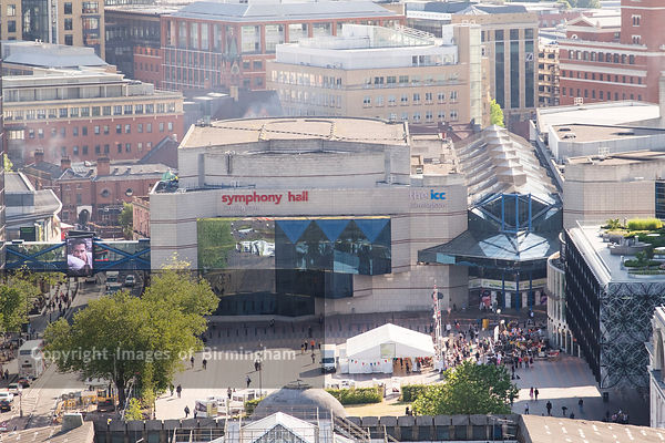 Aerial photograph of Birmingham City Centre, England. Symphony Hall and the ICC in Centenary Square.