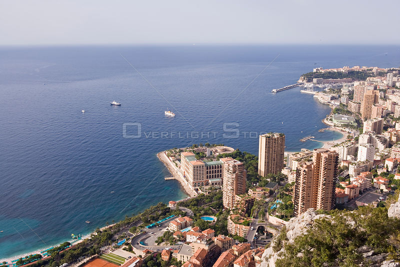 Panoramic view of Montecarlo, the Larvotto Marine Reserve is just in front of the beach covering the small peninsula with the buildings, Larvotto Marine Reserve, Monaco, Mediterranean Sea, July 2009
