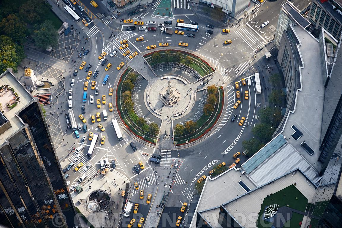 Aerial photograph of Columbus Circle near Central Park in New York City.