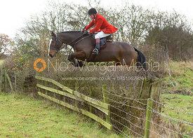 Tom Kingston jumping a hedge near the meet - The Belvoir Hunt at The Wolds Farm 3/12