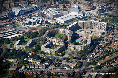aerial photograph of the Park Hill Flats.Sheffield, South Yorkshire.United Kingdom