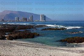 View along coast to skyscrapers on Cavancha Peninsula , Iquique , Region I , Chile