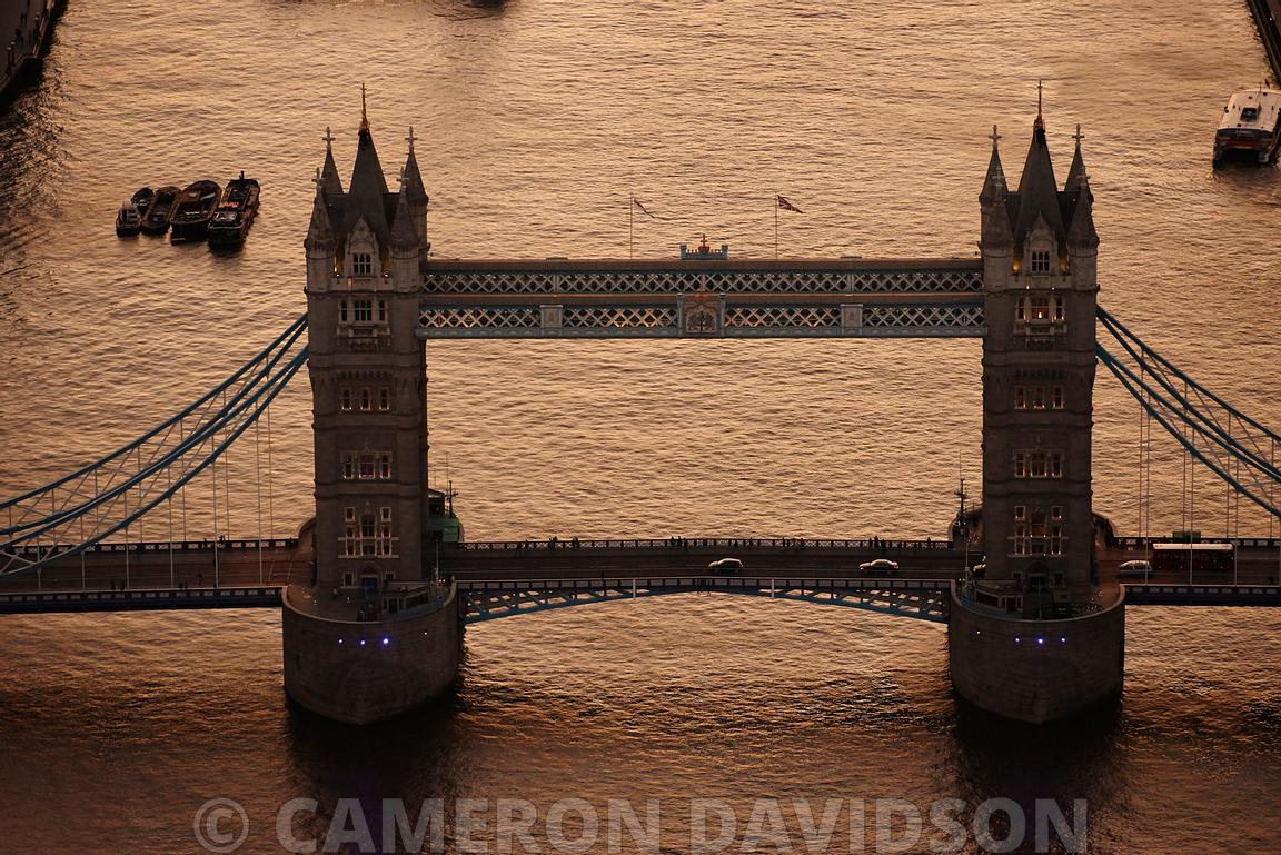 Early evening aerial photograph of the Thames River and Bridges in Central London, England.