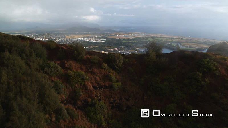 Over ridge on Lihue to view of Nawiliwili Bay, Kauai.