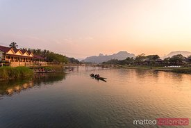 Laos, Vang Vieng. Sunset over Nam Song river
