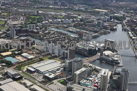 Manchester aerial photograph looking from Media City towards the Lowry Centre across Erie Basin and Central Bay and South Bay of Salford Quays towards Pomona docks