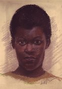 Black Girl Portrait in Pastel