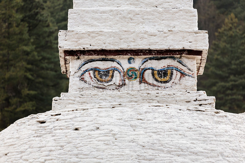 Eyes of the Buddha at Chendebji Stupa