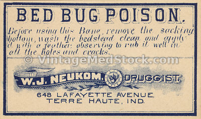 Antique Label for Bed Bug Poison