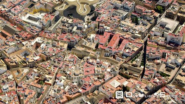 AERIAL VIEW OF THE HISTORIC CENTER OF SEVILLE SPAIN