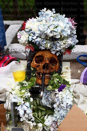 Skull wearing a crown of flower petals smoking a cigarette with fizzy drink and coca leaf offerings, Ñatitas festival, La Paz, Bolivia