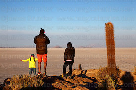 Tourists and Echinopsis atacamensis (pasacana subspecies) cactus on summit of Incahuasi Island shortly after sunrise, Salar de Uyuni, Bolivia