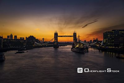 Time Lapse Sunrise over the London Bridge along the River Thames England