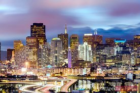 Skyline at dusk, San Francisco, California, USA
