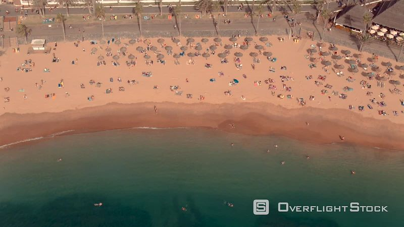 Los Cristianos beaches, filmed by drone, Tenerife, Canary Islands