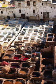 Leather dyeing at the tannery in the medina, Fes, Morocco; Portrait