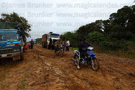 Bad conditions on dirt road between San Ignacio de Moxos and Trinidad after rain, Beni , Bolivia