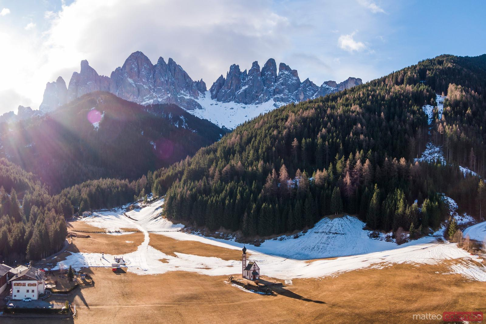 Aerial view of small church, Funes, Dolomites, Italy