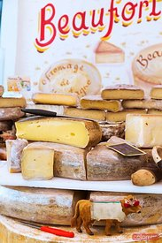 Cheese for sale al market, french Basque country, France
