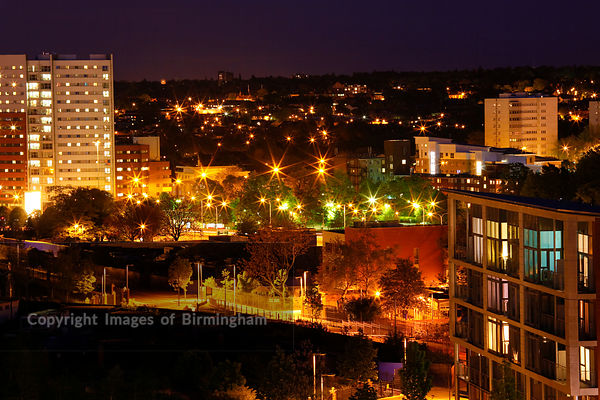 Park Central residential development, at night. Birmingham, West Midlands, England.