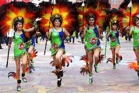 Beautiful girls dancing the tobas, Oruro Carnival, Bolivia
