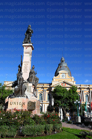 Congress building and Murillo monument, Plaza Murillo, La Paz, Bolivia
