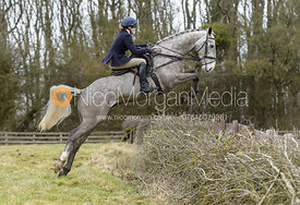 Isobel McEuen jumping a hedge at Orton Park