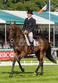 Denis Mesples and OREGON DE LA VIGNE - dressage phase,  Land Rover Burghley Horse Trials, 5th September 2013.