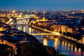 Verona illuminated at night, Veneto, Italy