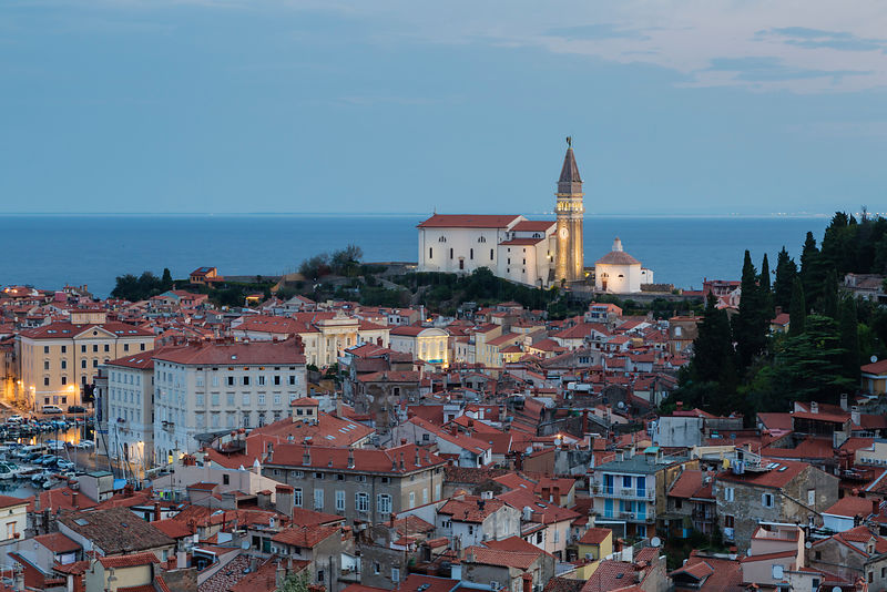 Elevated View of the Old Town of Piran