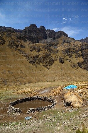 Rustic stone corral for livestock, Tunari National Park, Bolivia
