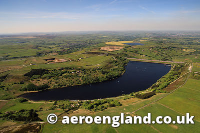 aerial photograph of Scammonden Reservoir  in West Yorkshire,  England UK