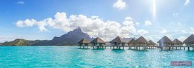Panoramic of overwater bungalows in the lagoon of Bora Bora