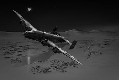 RAF Halifax SOE drop B&W version
