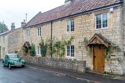 House and Vintage Car- Monkton Combe, England
