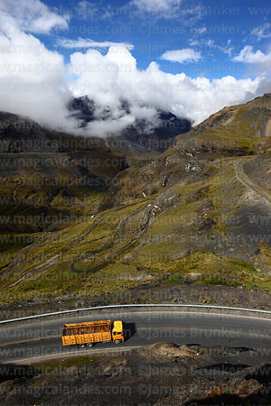 Truck on main La Paz to Yungas road below La Cumbre, Bolivia