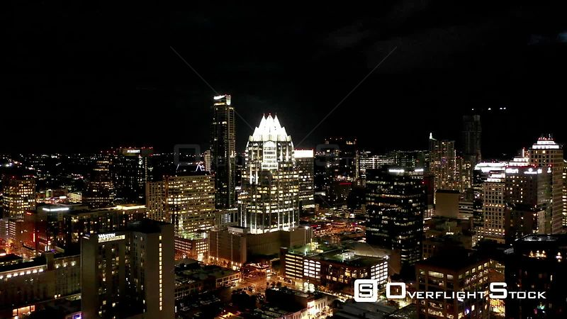 Frost Tower Nighttime Drone Video Downtown Austin Texas USA