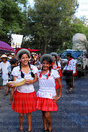 Girls in traditional dress at carnival parade, Tarija, Bolivia