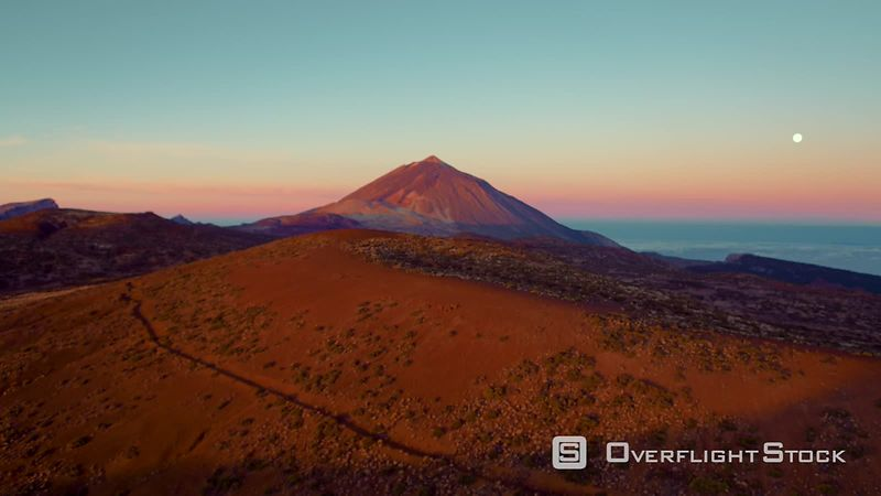 Volcano Teide on Tenerife, filmed by drone, at sunrise, Canary Islands